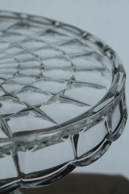 vintage pressed glass cake stand dessert plate, crystal clear Constellation pattern