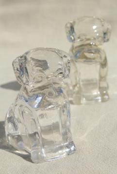 vintage pressed glass candy containers, bulldog pit bull mastiff dogs, so cute!