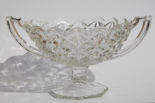 Vintage Pressed Glass Compote Bowl W Trophy Handles Loving Cup