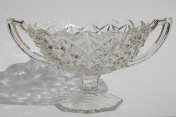 vintage pressed glass compote bowl w/ trophy handles, loving cup vase diamond block pattern