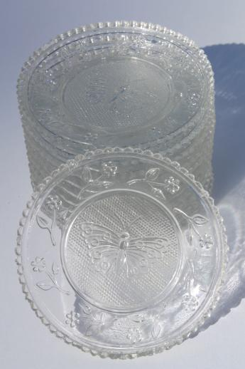 Vintage Pressed Glass Cup Plates W Butterflies Butterfly
