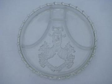 vintage pressed glass divided serving plate tray, intaglio pattern w/ rope border