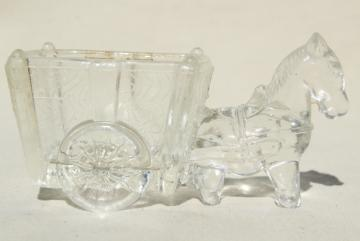 vintage pressed glass donkey cart, old candy container, toothpick or match holder glass novelty