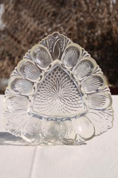 vintage pressed glass egg plate, triangular shape serving tray for deviled eggs