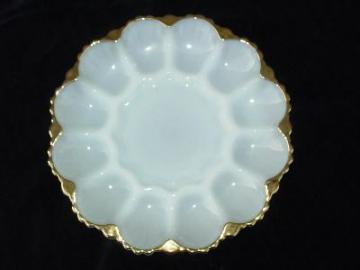 vintage pressed glass egg plate white with gold