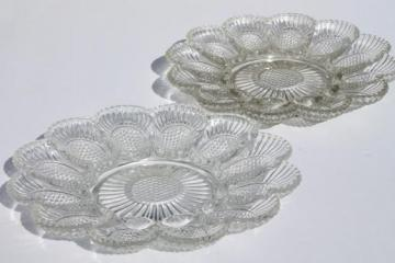 vintage pressed glass egg plates, divided relish trays for deviled eggs