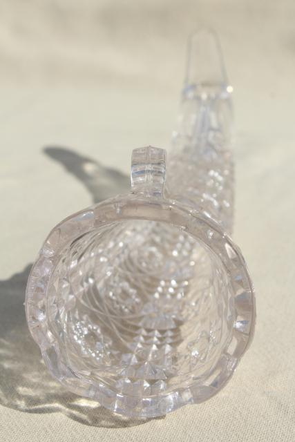 vintage pressed glass flower vase or hanging planter, hunting horn shape