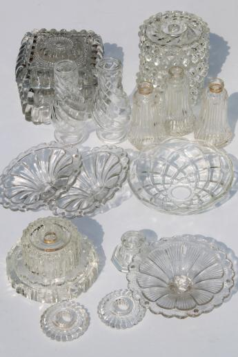 vintage pressed glass lamp bases & parts lot - bobeches ...
