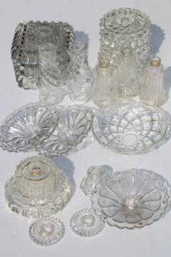 vintage pressed glass lamp bases & parts lot - bobeches for crystal chandeliers & hanging lights