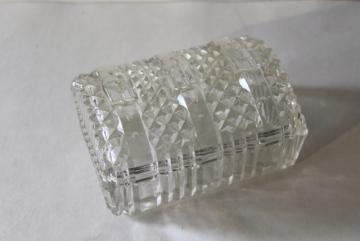 vintage pressed glass novelty, belted buckle box to hold coins or cigarettes