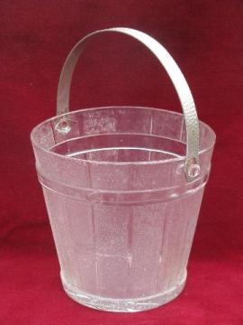 vintage pressed glass, old wooden pail pattern ice bucket w/ metal handle