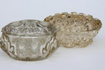 vintage pressed glass puff boxes, dresser / vanity table powder box lot