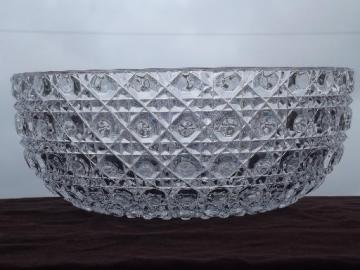 vintage pressed glass salad bowl, waffle and button Windsor pattern?