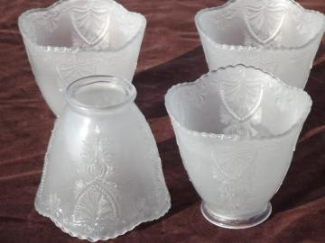 vintage pressed glass shades, set of 4 replacement lamp shades for hanging light