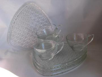 vintage pressed glass snack sets - cups, daisy & button plates, crystal color