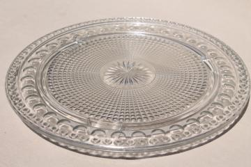 vintage pressed glass torte plate, waffle block thumbprint pattern cake plateau