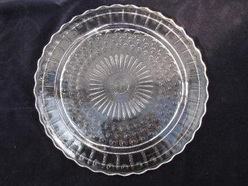 vintage pressed pattern glass cake plate plateau