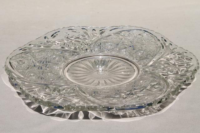Vintage Pressed Pattern Glass Cake Plate Sparkling