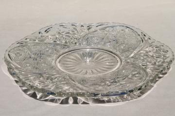 vintage pressed pattern glass cake plate, sparkling crystal clear glass