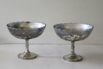 vintage pressed pattern glass compote pedestal bowls, antique silvering silver mercury glass style