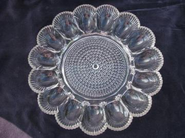 vintage pressed pattern glass divided glass egg plate