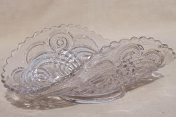 vintage pressed pattern glass fruit basket bowl or banana boat, low stand footed dish
