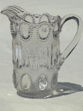 vintage pressed pattern glass pitcher, beaded oval 'egg' pattern glass