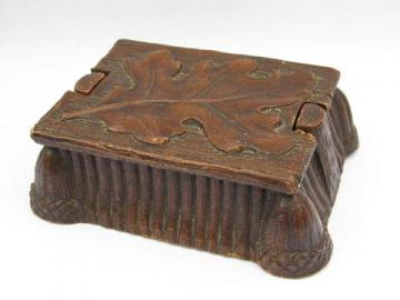 vintage pressed wood composition jewelry box, Oak Leaf & Acorn