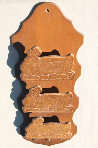 vintage pressed wood hen chickens wall hanging mail box catch-all, country kitchen decoration