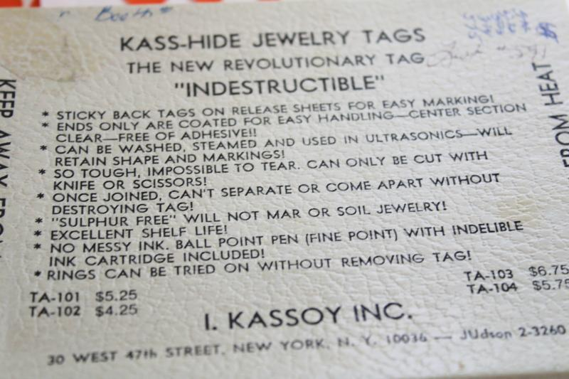 vintage price tag label stickers for jewelry chains, Kass Hide new old stock fold over dots