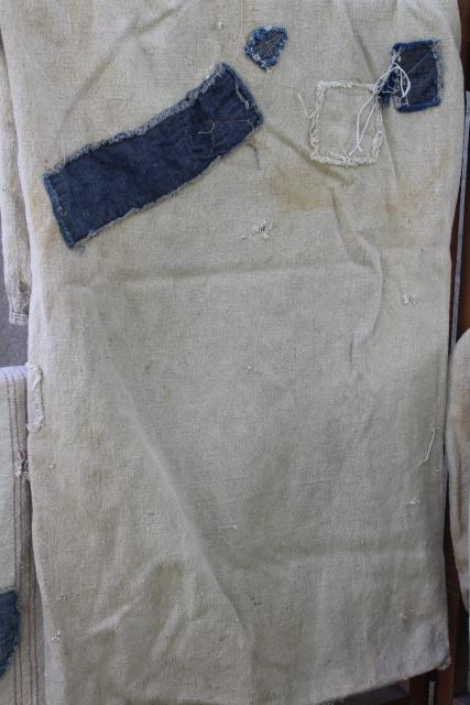 vintage primitive patched feed sacks, striped grain sack heavy cotton fabric Bemis