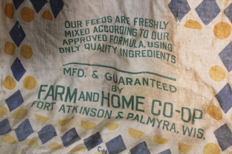 vintage print cotton chicken feed sack, mermaid graphics! Ft Atkinson Wisconsin
