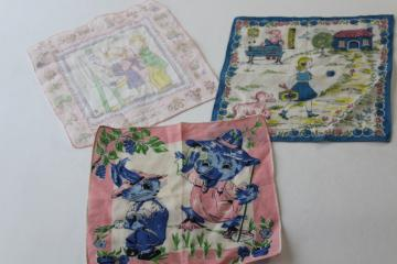 vintage print cotton children's hankies, Easter bunny & duck, Mary had a little lamb