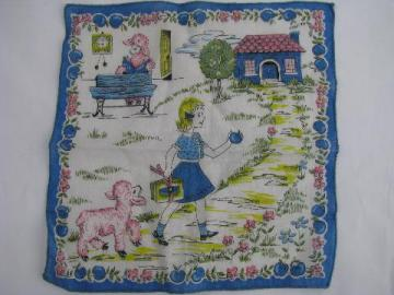 vintage print cotton child's handkerchief, Mary had a Little Lamb nursery rhyme