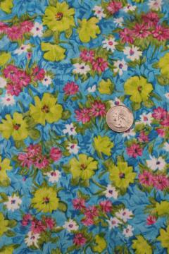 vintage print cotton fabric, 60s neon green & pink flowers on aqua blue