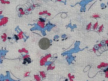 vintage print cotton fabric, baby cowboy and milkmaid bears w/ cows