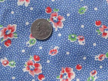 vintage print cotton fabric, blue and white pin dot little pink flowers