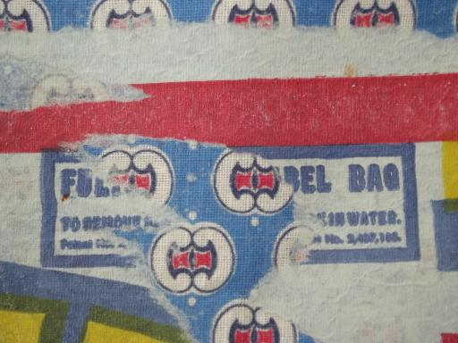 vintage print cotton fabric feed sack w/ original farm feed paper label