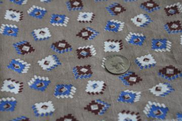 vintage print cotton feed sack fabric, blocks in brown & blue on neutral greige