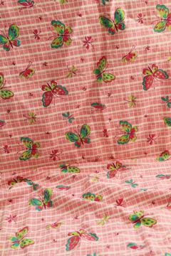 vintage print cotton feed sack fabric, butterflies in shades of green on pink & white