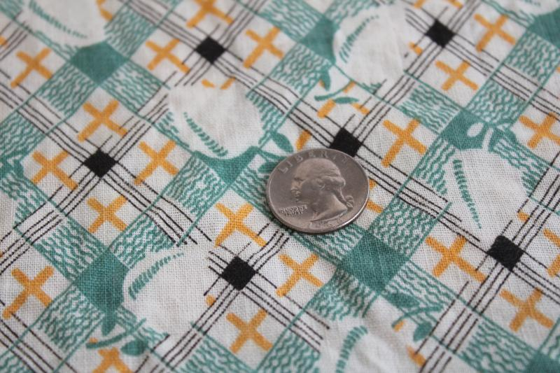 vintage print cotton feed sack fabric, jadite green & yellow plaid w/ peaches or lemons