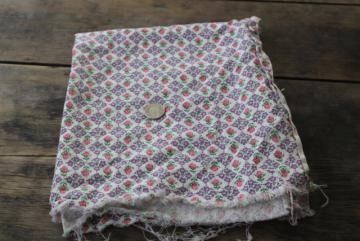 vintage print cotton feed sack fabric, pink rose buds & tiny lavender flowers