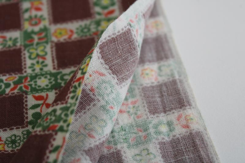 vintage print cotton feed sack fabric, plaid checked w/ flowers autumn colors