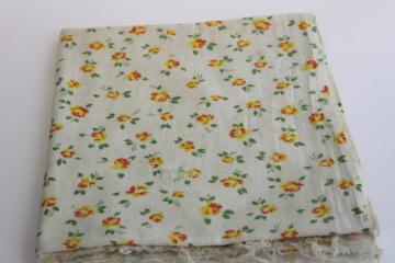vintage print cotton feed sack fabric, prairie girly roses yellow rose floral