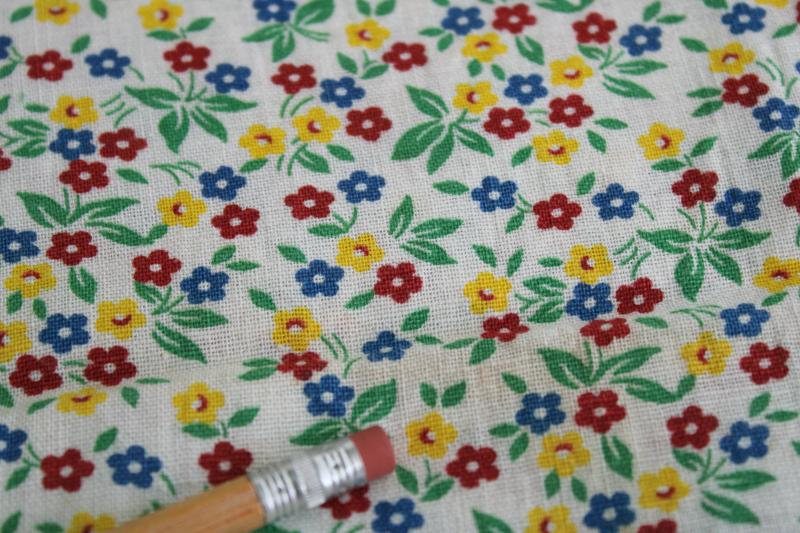 vintage print cotton feed sack fabric, tiny flowers in primary red, blue, yellow