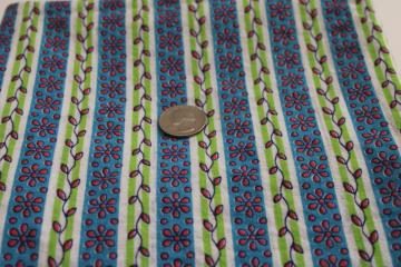 vintage print cotton feed sack fabric, vines & flower stripes, lime green, blue, pink