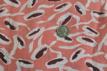vintage print cotton feedsack fabric, coral pink w/ sewing tape measures