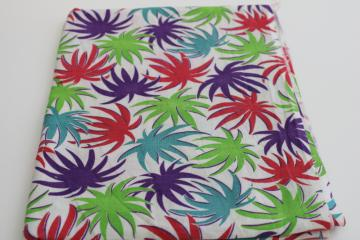 vintage print cotton feedsack fabric, truffula trees bright colored palms