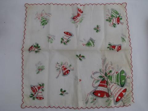 vintage print cotton gift hanky, Christmas bells handkerchief, original label