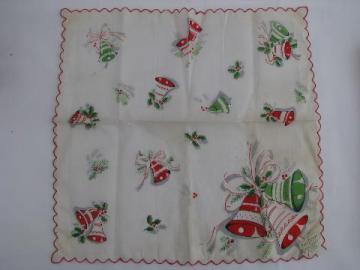 vintage print cotton gift hanky, Christmas bells handkerchief, original label